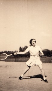 Mary playing tennis at Rayleigh School in 1951
